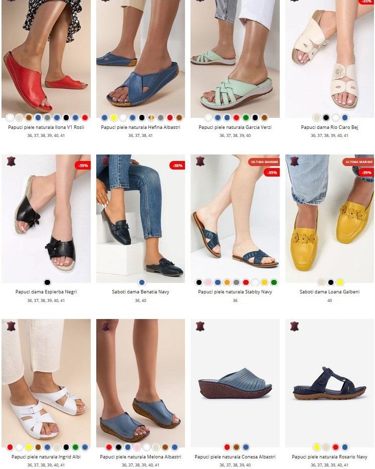 papuci piele naturala